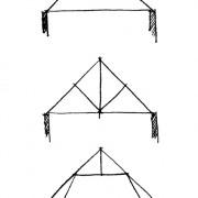 Croquis d'une ferme à faux-entrait - d'une ferme simple dite latine et d'une ferme à entrait retroussé. Pour chacune leurs arbalétriers portent les versants du toit.