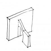 Croquis d'un arc-boutant servant à soutenir le mur.