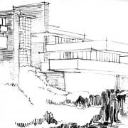 Architecture organique de la maison sur la cascade (1935) (Pennsylvanie - E.U.) de Frank Lloyd Wright architecte qui a initié ce mouvement - croquis Karine Terral.