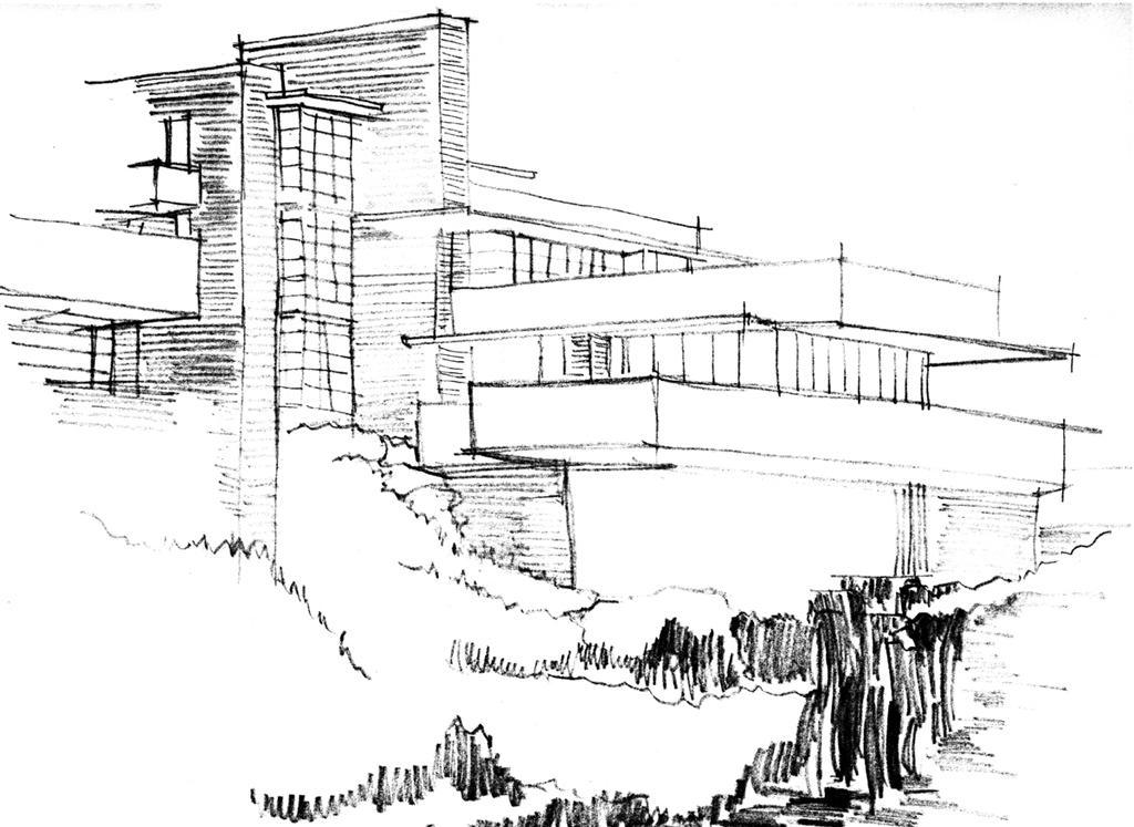Modernité de la maison sur la cascade de Franck Lloyd Wright - 1935 ...