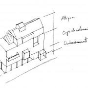 Croquis montrant l'organisation hiérarchique des étages et leur dénomination : soubassement - corps du bâtiment et attique (croquis Karine Terral).