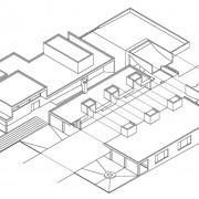 Axonométrie de l'école de Vieilley (70) (Quirot-Vichard - architectes - 2004).