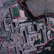 Vue aérienne du quartier Z.U.P. d'Allonnes (72) banlieue du Mans - photo: CAUE 72.