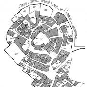 """Cadastre de Souvignargues - """"circulade"""" - bastide gardoise (30) à la disposition concentrique du parcellaire."""
