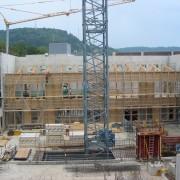 Bâti d'un pan de bois au collège Lumière de Besançon (25) (Quirot-Vichard - architectes - 2007) photo: Alexandre Lenoble.