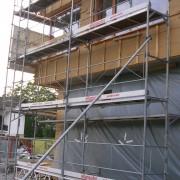 Bâti d'un pan de bois d'un immeuble de bureau au Vorarlberg (Autriche) (2006) photo: Karine Terral.