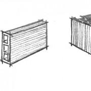 Croquis de 3 types de brique: la brique pleine - la brique creuse généralement utilisée pour le doublage et cloison et la brique « monomur » utilisée pour ses qualités thermiques (croquis Karine Terral).