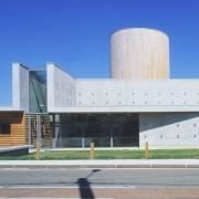 Calepinage en façade de l'assemblage des banches - salle polyvalente d'Arc-et-Senans (25) (Quirot-Vichard - 1999) photographe: Luc Boegly.