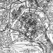 Extrait de la carte I.G.N. de Besançon représentant le centre-ville.