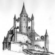 Croquis du château fort de Ségovie - croquis Karine Terral.
