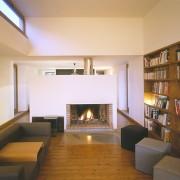 Foyer de cheminée de la maison de Grachaux (70) (Quirot-Vichard - architectes - 1999) photographe: Nicolas Waltefaugle.