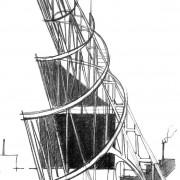 Figure du constructivisme : le Monument de Vladimir Tatline (1920) Institut Lénine d'Ivan Léonidov (1927) à Moscou - croquis: Karine Terral.