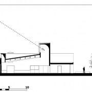 Coupe transversale de la salle polyvalente de Beure (25) montrant les arrivées de lumières naturelles (Quirot-Vichard - architectes - 2005).