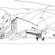 Représentation en croquis de la salle polyvalente de Beure (25) (Quirot-Vichard - architectes - 2005).