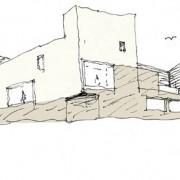 Croquis de Bernard Quirot pour le collège Lumière de Besançon (25) (Quirot-Vichard - architecte - 2007).