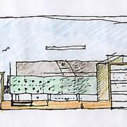 Croquis de Bernard Quirot pour le lycée Condé de Besançon (25) (Quirot-Vichard - architecte - 1999).