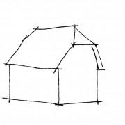 Croquis d'un toit à demi-croupe - croquis: Karine Terral.