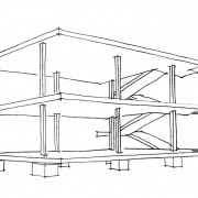 Croquis de principe de la maison Domino de Le Corbusier composée de dalles et de poteaux en béton armé.
