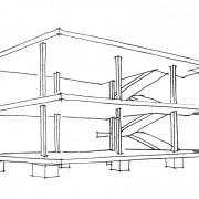"""Croquis de principe du """"système Dom'ino"""" de Le Corbusier montrant le mode constructif poteaux-dalles en béton armé - croquis: Karine Terral."""