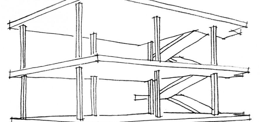 Ossature béton de la maison Domino de Le Corbusier - croquis: Karine Terral.