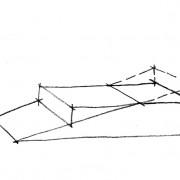 Croquis illustrant le déblai (trait tiré) et le remblai - croquis: Karine Terral.