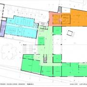 Plan R+1 du collège Lumière à Besançon au 1:250e. Source agence Quirot-Vichard.