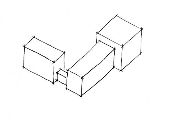 Croquis d'un édifice comprenant plusieurs bâtiments : l'arrière-corps - l'avant-corps et l'aile reliée par une galerie (croquis Karine Terral).