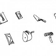 Croquis d'outils servant à la mise en œuvre des enduits.