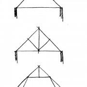 Croquis de fermes de toit : la ferme simple ou latine contreventée par 2 contrefiches - la ferme à entrait retroussée - croquis: Karine Terral.