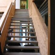 Escalier en lamellé-collé d'un immeuble à Fribourg (All.) photo: Karine Terral.