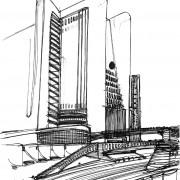 Ville futuriste d'Antonio Sant'Elia (1888-1916) 1914 - extrait de la photothèque des collections du Mnam - CCI-Centre G. Pompidou - Paris.