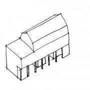 Schéma d'un immeuble avec galerie - croquis: Karine Terral.