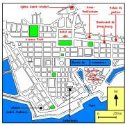 Plan du Havre d'après les plans de l'atelier Perret des années 50 - illustration du site www. wikimedia.org