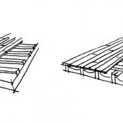 Lambourdes de parquet sur dalle (croquis de gauche) et sur solives (croquis de droite).