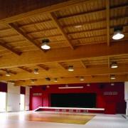 Structure de toit en lamellé-collé - salle polyvalente de Saône (Guillaume et Zioua - architectes - 2003) photographe: Nicolas Waltefaugle.