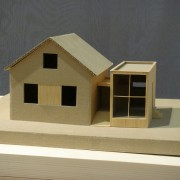 Maquette en carton gris et balsa d'une extension de maison (25) (agence Tardy - 2006).