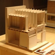 Maquette d'étude de la structure en bois de la fermes des Marcassins (70) (agence d'architectes Amiot-Lombard - 2004).