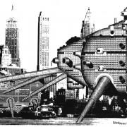 Radicalisme d'Archigram pour la conception de cette ville - Walking City - 1964 - image extraite de L'art du XXe 1939-2002 - de Daniel Soutif aux éditions Citadelles.