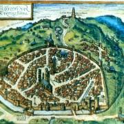 Représentation cavalière de la ville de Nîmes au XVIe siècle - 1560 - extraite de la collection des plans anciens de Nîmes (1560-1884) du Musée des Arts et d'Histoire de Nîmes (30).