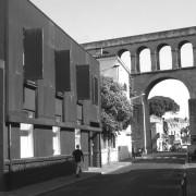 Revêtement en acier corten du CAUE de l'Hérault (façade) photo: Frédéric Hébraud.
