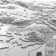 Maquette en carton plume d'un site d'urbanisation - maquette CAUE 70.