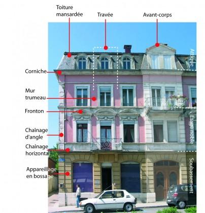Composition de la façade d'un immeuble de Morteau (25) - soubassement - corps du bâtiment (ici étage noble) et attique - photo : Rémi Bassez - CAUE du Doubs.