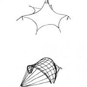 Exemples de structures tendues de type chapiteau - croquis: Karine Terral.