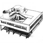 Un exemple de l'architecture moderne - la villa Savoye (Poissy) (Le Corbusier - 1931) croquis Karine Terral.