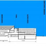Coupe de terrain réalisée pour le dossier de permis de construire du collège Lumière à Besançon par l'agence Quirot-Vichard architectes.