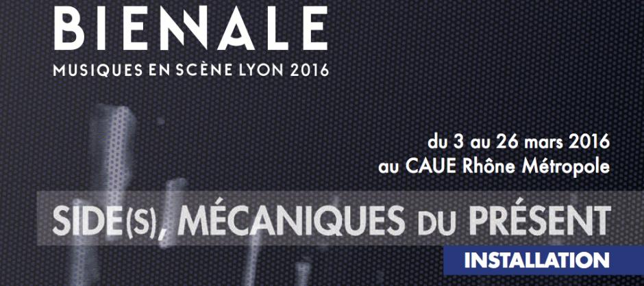 affiche de la biennale et de l'installation sonore au CAUE 69